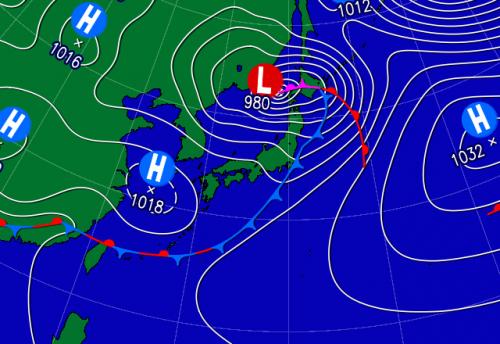 (上) こんや21時の予想天気図