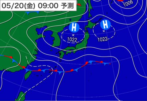 20160519_20日09時予想天気図