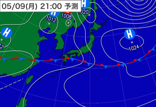 20160508_9日21時予想天気図2