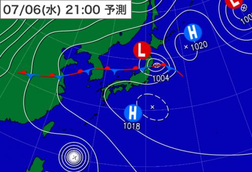20160706_6日21時予想天気図