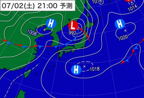 20160701_2日21時予想天気図