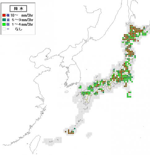 31日15時の降水予測