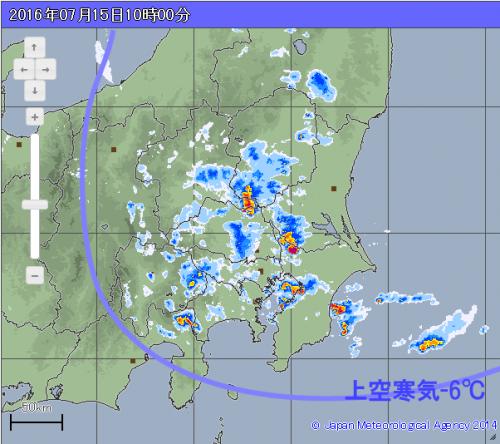 朝から雷雲増殖 (気象庁高解像度レーダ)