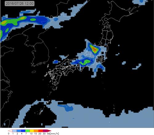 26日(火曜日)の雨エリア予想