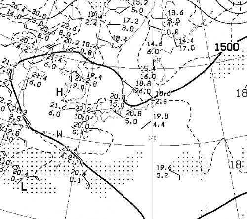 10日21時の1500m付近の天気図