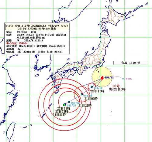 20日0時台風10号