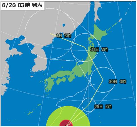 28日3時台風10号進路予測