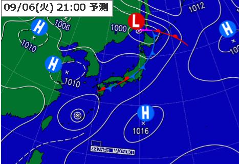 9月6日21時予想天気図