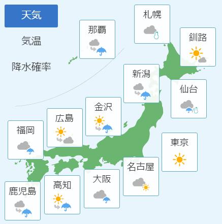 1月18日天気予報
