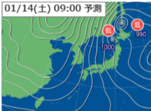 1月14日9時予想天気図