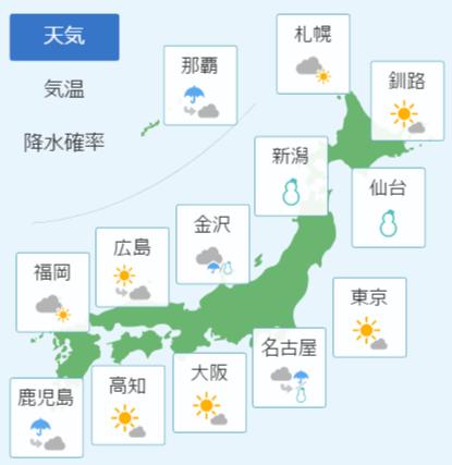 1月13日天気予報
