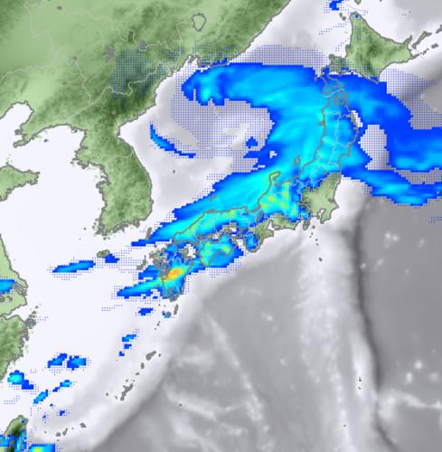 2月20日12時のレーダー降水域予想