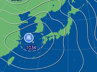 2月15日9時の予想天気図