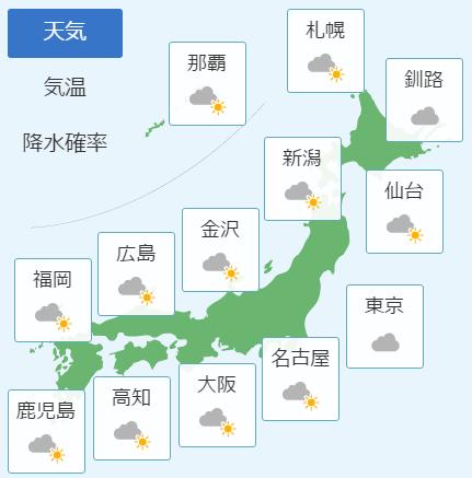 3月12日の天気予報