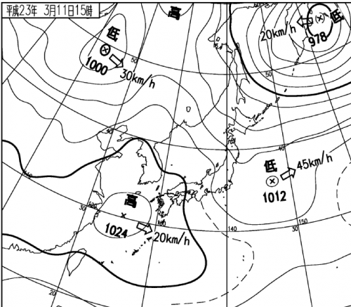 2011年3月11日15時の天気図